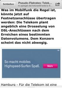 Netter Zufall: Der erste Tweet von SpiegelOnline hatte auch eine Telekom-Anzeige dazwischengeschaltet. Aber mobil macht das Surfen in Großstädten leidert auch längst keinen Spass mehr.