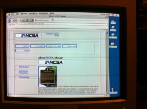 NCSA's About page as requested from the WWW on 2013/04/30 - Mosaic Browser 2.00 runing on a Quadra 650 Mac OS 8.1