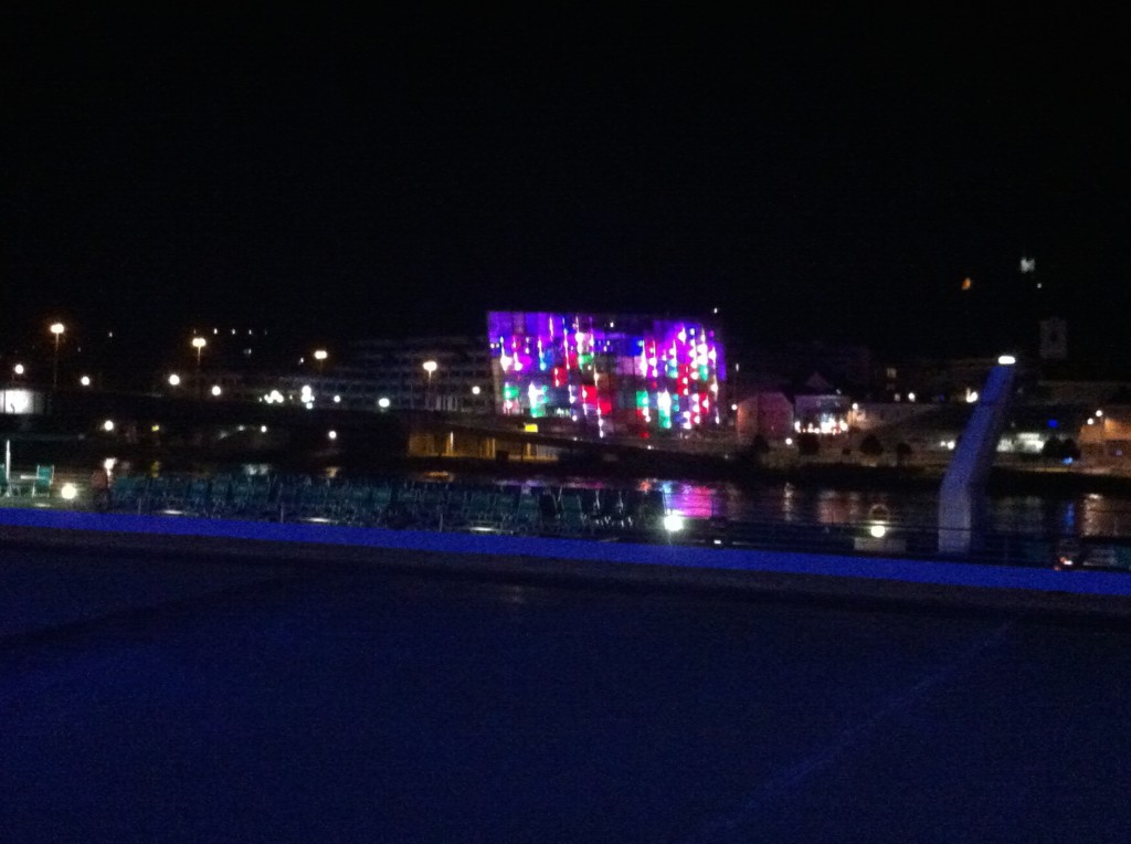 Seen across the Danube: The Ars Electronic Center at Night.